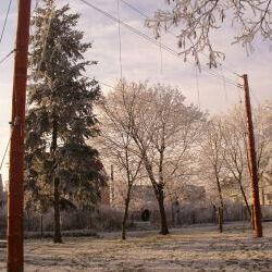 Seilbrücke im Winter